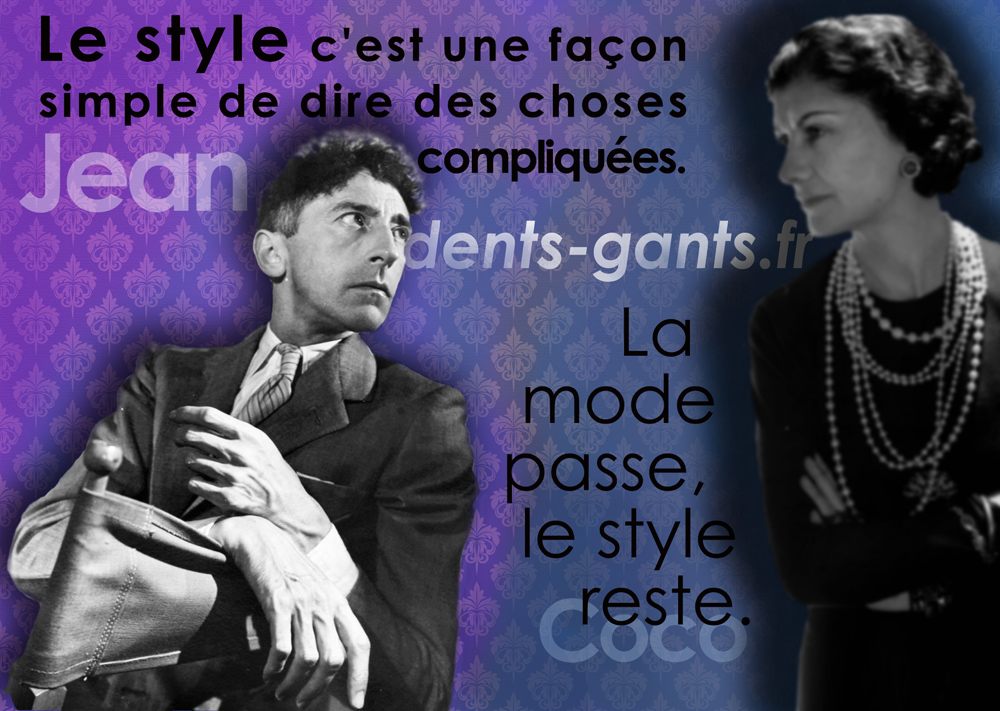 "Quotagraphic Jean and Coco Chanel for social media ""fashion passes only style remains the same"" in French"