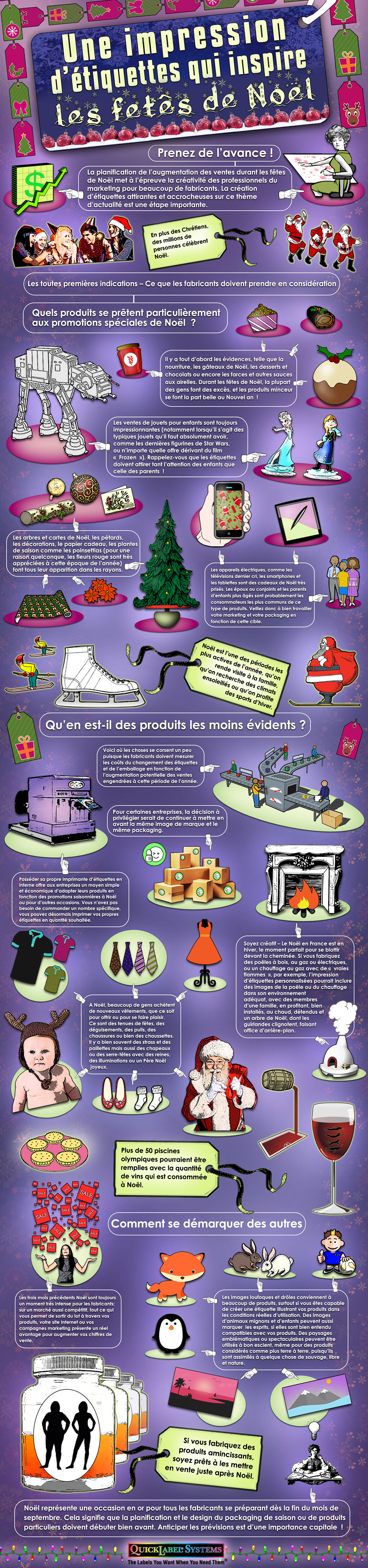 Infographic for Quicklabel in French - Label Printing for Christmas Flair for sharing on social media