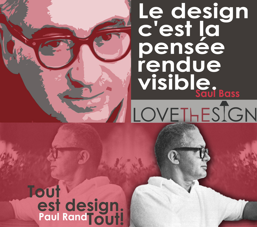 "Quotagraphic Saul Bas in French ""Design is Thinking made visual"" for sharing on Social Media."