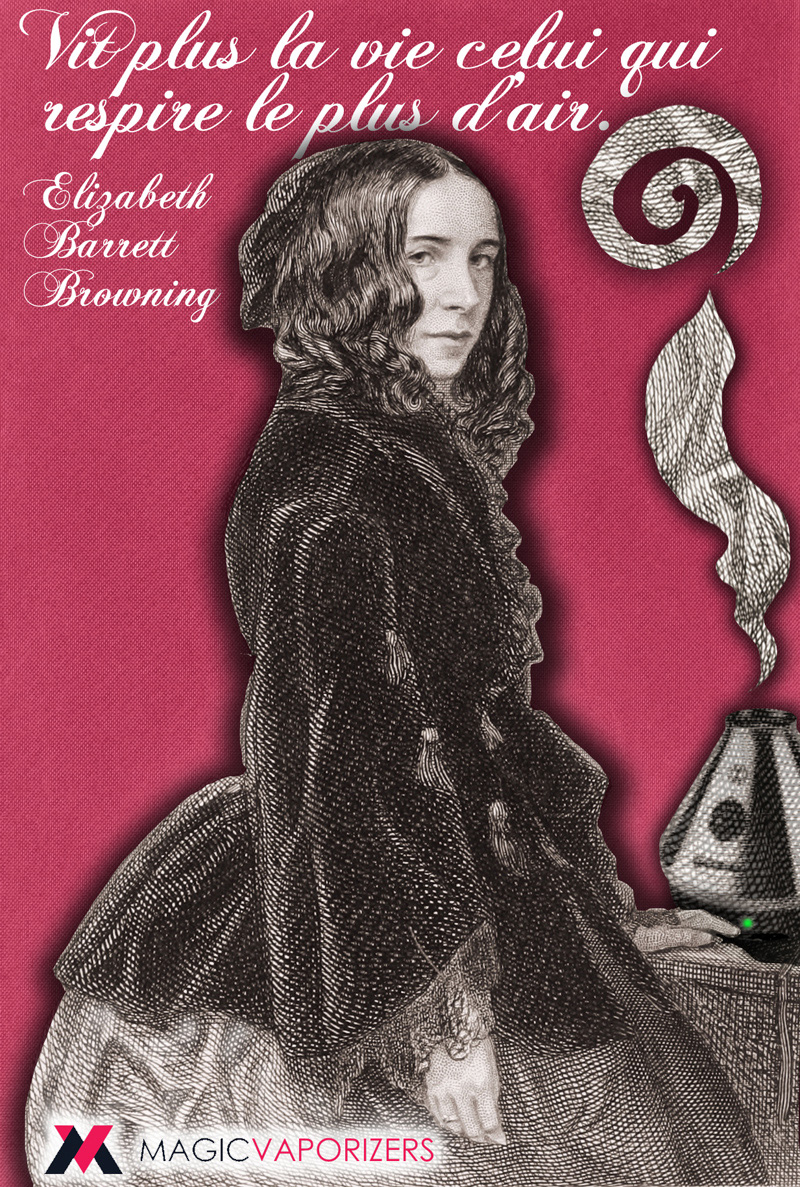 Quotagraphic He lives most life whoever breathes most air Elizabeth Barrett Browning in French for Magic Vaporizers Image share for social media.