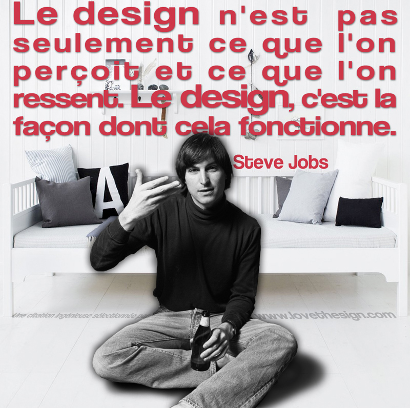 Quotagraphic Steve Jobs design for sharing on social media, Design is not just what it looks like and feels like. Design is how it works.