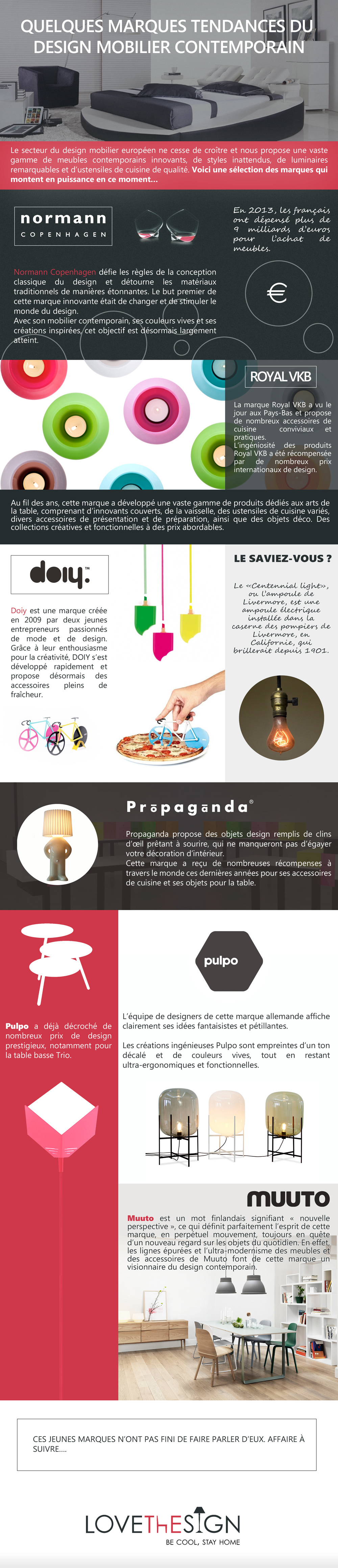 Infographic in French for Love the Sign, Different trends in contemporary furniture, for sharing on social media